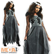 Halloween Black Corpse Ghost Zombie Dead Bride Fancy Dress Costume Womens Outfit Extra Large