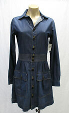 FRAME Denim Long Sleeve Dress w/ Front Pockets & Brown Stitching - S - NWT $229