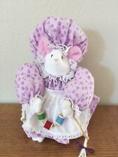 """Vtg Hand Made White Mouse with Purple Floral Hat and dress Sewing Adorable! 10"""""""