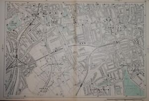 """LONDON - CAMBERWELL, PECKHAM, EAST DULWICH BY G. BACON. 9"""" SCALE.  1902"""