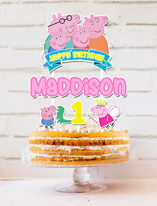 Peppa Pig Cake Topper Personalised *STURDY* Kids Birthday Party Decorations