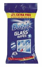 DUZZIT GLASS WINDOW MIRROR CLEANER CLEANING WIPES PACK OF 50
