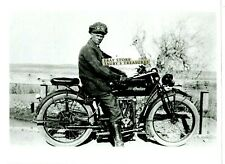 Vintage Photo INDIAN MOTORCYCLE Man Leather Gloves Boots Racing Goggles Road US
