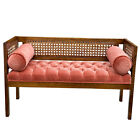 Vintage Traditional Colonial Cherry Tuft Cane Back Window Bench Settee