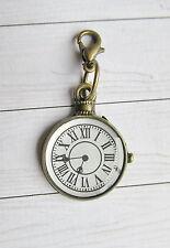 Uhr, Anhänger für Armband, Kette, Tasche, Schlüsselanhänger m. Karabiner