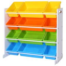 Kinderregal Spielzeugregal Aufbewahrungsregal 12 mit Kästen Kinderzimmer GKR04W