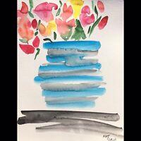 Matt Scalf Abstract Flowers Floral ORIGINAL PAINTING Watercolor 9x12 Modern Boho