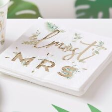 Almost Mrs.... Hen Party Paper Napkins, Gold Botanical Bride to Be - pack of 16