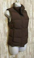 LL Bean Brown Goose Down Puffer Vest Full Zip Women's Size XS