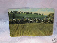 Farming thrashing wheat out west agriculture antique Postcard 1911steam engine