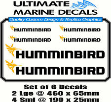 New Humminbird Fishing Boat Sticker Decal Marine Set of 6