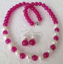 Natural White Cultured Pearl & pink Gemstones Necklace Earrings Set C2485