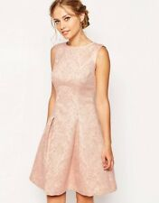 TED BAKER pale pink jacquard print fit & flare full skirt dress prom wedding 1 8