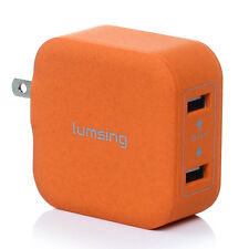 Lumsing 17W 3.4A 2-Port Foldable USB Wall Charger for Smartphones Tablets Orange