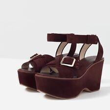 Zara Womens Shoes Sz 9 Brown Suede Platform Wedge Sandals Adjustable Buckle New