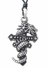 Pewter DRAGON on CROSS Pendant on Black Cord Necklace Nickel Free Chinese