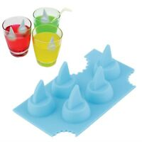 Silicone Blue Shark Fin Ice Tray Cube Freeze Novelty Chocolate Mould Mold BJC