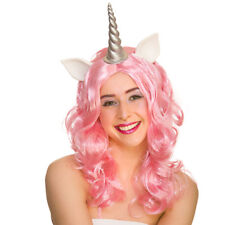 Pink Unicorn Wig Ladies Fancy Dress Fairytale Animal Adult Costume Accessory New
