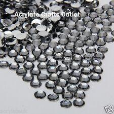 2000x 4mm ss16 Grey Black Diamond Flat Back Round Resin Rhinestones Craft Gems
