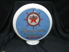 TEXACO MARINE WHITE GAS PUMP GLOBE (BLUE BACKGROUND)