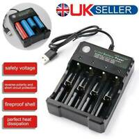 4 Slot 18650  Li-ion Battery Charger USB Fast Charge Dual for 3.7V 10440 18350