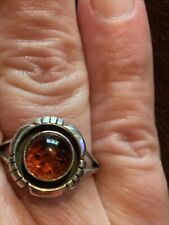Native American Sterling Silver Amber Ring, Size 8 Signed