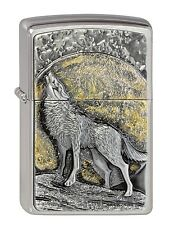 ZIPPO Benzin Feuerzeug Wolf at Moonlight Emblem Mondlicht Plakette 2003038 NEU