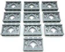 Lego 10 New Light Bluish Gray Fence 1 x 4 x 2 Ornamental 4 Studs Pieces