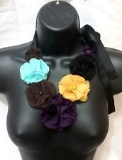 Multi Color Cocktail Evening Flower Floral Ribbon Silk Style Bib Collar Necklace