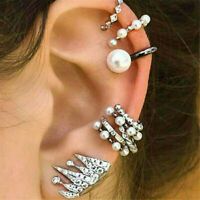 9PCS Fashion Pearl Ear Clip Ear Cuff Stud Crystal Boho Ear Earrings Jewelry Set