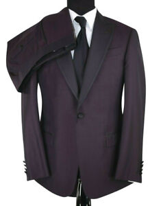 Armani Collezioni NWT Tuxedo In Solid Burgundy W/ Black Satin Sz 40R Peak Lapel