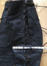 "Vintage Black Leather Biker Trousers High Waisted Pockets Adjustable W 28"" L 28"""