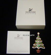 SWAROVSKI swan signed CHRISTMAS TREE PIN~2000 w/ BOX, book piece