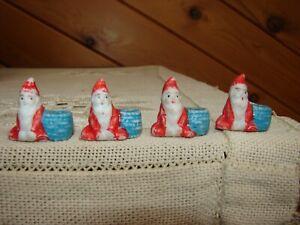 4 Antique Vintage Miniature Bisque Santa Claus Elves - Tiny Candle Holders?