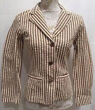 CAbi #176 Women Work Career Long Sleeve Pocket Brown Stripe Blazer Jacket Sz 4