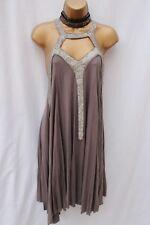 All Saints Spitalfield Parachute Grey Beaded Evening Occasion Dress - Rare UK- 8