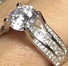 14k REAL GOLD 3 carat White round engagement Manmade Diamond 7 6 8 9