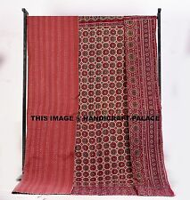 Indian Ajrakh Hand Block Printed Kantha Quilt Bedspread Bed Cover Queen Coverlet