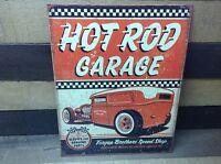 Hot Rat Rod Vintage Tin Metal Sign Poster Classic Car Garage Speed Shop