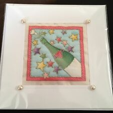 Hand Quilted Stitched Cards Birthday Congratulations Wedding  Invite Champagne