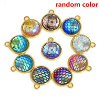 10PCS Lot Resin Mermaid Fish Scale Charms Pendant Jewelry Necklace DIY 12mm Gift