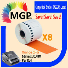 8 Refill only Compatible for Brother DK-22205 Continuous Orange Roll 62mm x 3...
