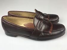 Vtg FootJoy Handsewn Made in USA Men's 14 D Brown Leather Kiltie Loafers Slip On