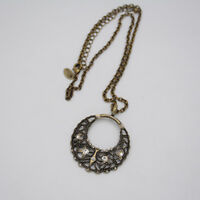 Lia sophia jewelry vintage brass tone cut crystal circle hollow pendant necklace
