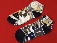 NWT 2 Pairs Looney Tunes Ankle Socks Coyote Bugs Bunny Taz Duffy Sz 7 - 10 (E1-5