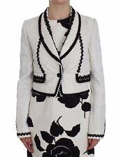 NEW $1700 DOLCE & GABBANA Jacket Blazer White Black Brocade Torero IT40 / US6/ S