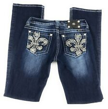 Miss Me Buckle Boot Thick Stitch Embellished Distressed Blue Jeans Women's 29