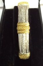 STERLING SILVER AND 18k YELLOW GOLD BANGLE BRACELET