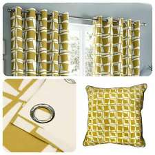 Fusion CAPELLA Ochre Geometric 100% Cotton Eyelet Curtains & Cushions
