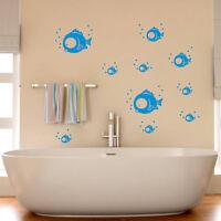 Wandtattoo Sticker Fische Unterwasser Wandbild Badezimmer Bad WC Blau Süß